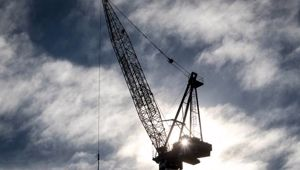 Construction cranes rise above Auckland city's skyline. Photo / Michael Craig