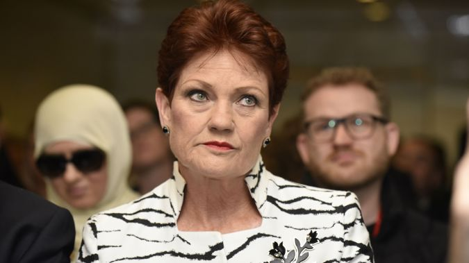 Footage shows that Pauline Hanson got stuck. (Photo / Getty)