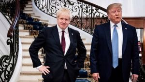 Britain's Prime Minister Boris Johnson and US President Donald Trump speak to the media before a working breakfast meeting at the Hotel du Palais on the sidelines of the G-7 summit. Photo / AP