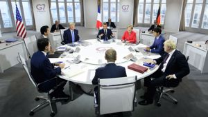 The leaders of the G7 countries assemble for a meeting. (Photo / AP)