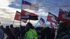 Protesters march to Jacinda Ardern's electorate office. (Photo / ZB)