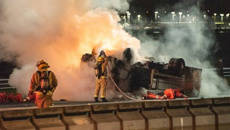 Fiery truck crash on Auckland's Harbour Bridge causes traffic chaos