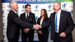 NZ Rugby CEO Steve Tew and World Rugby Chairman Bill Beaumont shake hands after New Zealand was announced as the winning bid for Women's Rugby World Cup 2021. Photo / Photosport