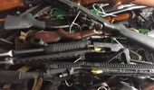 Guns handed over by the public at the Police gun buyback event in Christchurch. (Photo / Amber Allott)