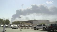 The smoke from the Abqaiq oil facility can be seen in the background. (Photo / AP)