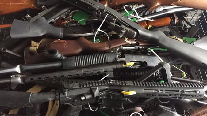Guns handed over by the public at the police gun buyback in Christchurch in July. (Photo / Amber Allott)