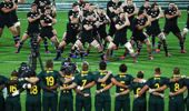 The All Blacks perform haka in front of the Springboks. (Photo / Photosport)