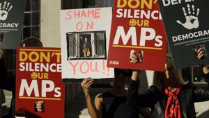 Protesters stand outside the Supreme Court. (Photo / AP)