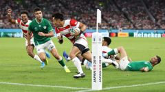 Japan's Kenki Fukuoka of Japan runs with the ball to score his side's first try during the Rugby World Cup 2019 Group A game against Ireland at Shizuoka Stadium. (Photo / Getty)
