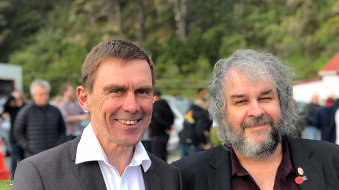 Wellington City Councillor Andy Foster (left) with Sir Peter Jackson. (Photo / New Zealand Herald)