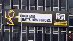A Pak'n Save billboard displayed in Palmerston North has gone viral on social media as the unfortunate placement unveils an offensive phrase.