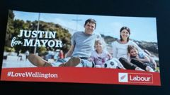Justin Lester's election campaign material was clearly branded Labour.