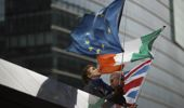 EU, Ireland and Union Flags outside the European Commission in Brussels. Photo / AP