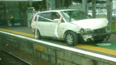 Stolen car driven on rail platform: Trains halted after dramatic police chase