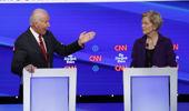 Sen. Elizabeth Warren and former VP Joe Biden. Photo / AP