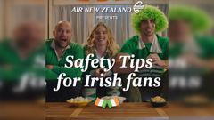 Air New Zealand gives Irish fans a few tips for getting through this weekend's game. (Video / Air New Zealand)