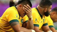 Allan Alaalatoa of Australia looks dejected on the bench. Photo / Getty