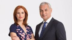 Newshub hosts Samantha Hayes and Mike McRoberts. (Photo / Supplied)