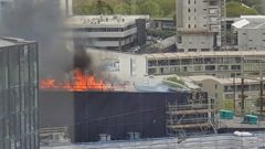 The fire has ravaged the convention centre construction site. (Photo / NZ Herald)
