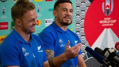 All Blacks Sam Cane and Sonny Bill Williams during their press conference. Photo / Mark Mitchell