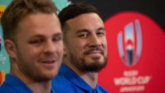 All Blacks Sam Cane and Sonny Bill Williams at a press conference after the All Blacks' World Cup semifinal exit. Photo / Mark Mitchell