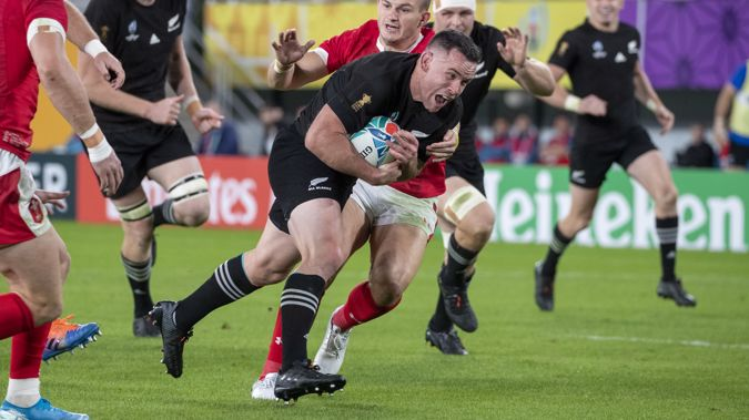All Blacks centre Ryan Crotty scoring his try against Wales during the Rugby World Cup Bronze Final match. Photo / Mark Mitchell