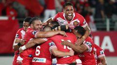Tonga celebrate their win over Australia. (Photo / Getty)