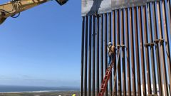 Sections of the border wall under construction. (Photo / Washington Post)