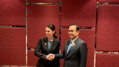 Prime Minister Jacinda Ardern with Thai Prime Minister Prayuth Chan-ocha. (Photo / Pool)