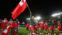 Duane Mann reflecting and celebrating Tonga's famous win over Australia in the Rugby League