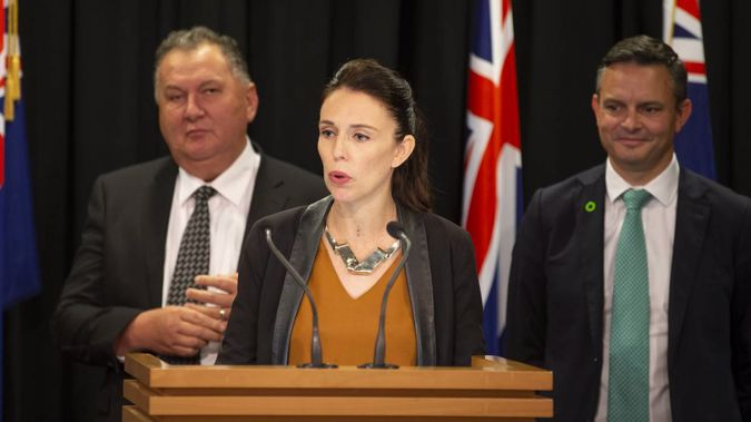 Members of the coalition: Shane Jones, Jacinda Ardern and James Shaw. (Photo / NZ Herald)
