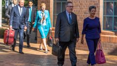 National Party politicians Paula Bennett, right, and Anne Tolley, centre, arrive at the High Court in Auckland. (Photo / NZ Herald)