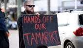Protest outside Oranga Tamariki in July. (Photo / NZME)