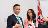 Prime Minister Jacinda Ardern with Minister for Climate Change James Shaw. Photo / Mark Mitchell