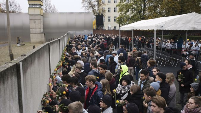 Germany and allies have recognised 30 years since the wall opened. (Photo / AP)