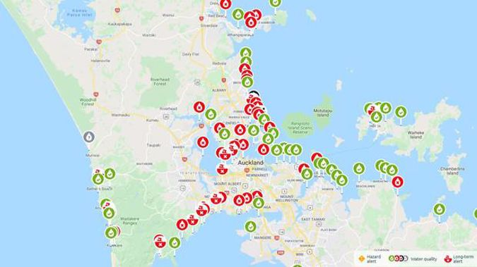 Alerts issued today on Auckland Council's Safeswim website. (Image / Safeswim)