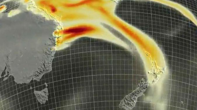 Weather maps show the smoke plume heading towards New Zealand. (Image / NIWA)