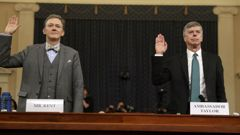 Career Foreign Service officer George Kent and top U.S. diplomat in Ukraine William Taylor, right, are sworn in to testify during the first public impeachment hearing. (Photo / AP)