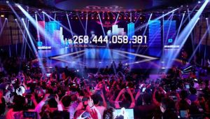 A screen shows the value of goods being transacted during Alibaba Singles' Day global shopping festival.