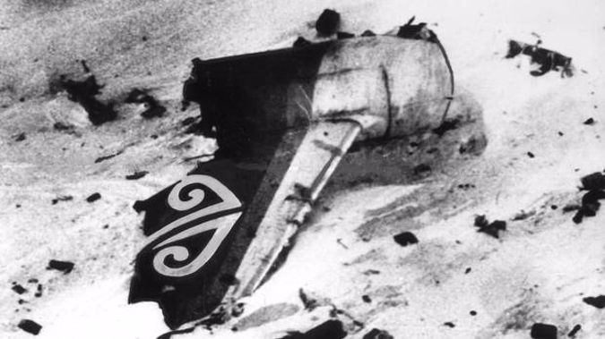 The tail of the crashed DC10 was among wreckage scattered across the slopes of Mt Erebus after Air New Zealand flight TE901 crashed in 1979. Photo / File