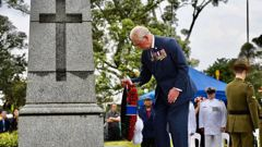 Prince Charles laying a wreath in Mt Roskill. )Photo / supplied)