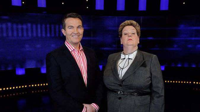 Bradley Walsh with Anne Hegerty, aka The Governess, one of the Chasers on the hit quiz show. (Photo / Supplied)