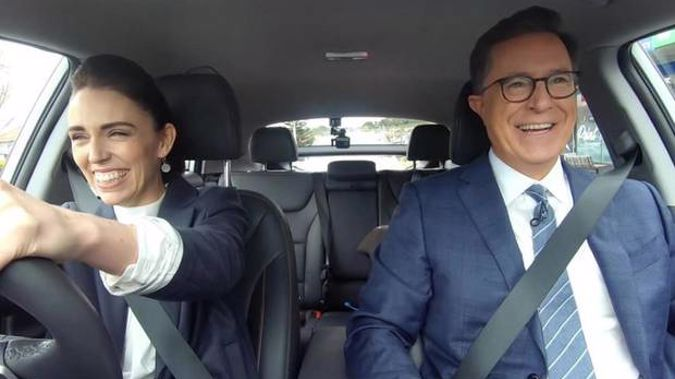 Jacinda Ardern and Stephen Colbert on the Late Show. Photo / Supplied