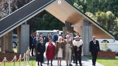 Prince Charles, centre right, and Camilla, centre left, stand with Maori elders during a powhiri at Tuahiwi Marae in Christchurch. Photo / Supplied