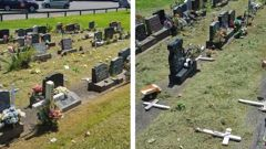 The Auckland Council have launched an investigation after a woman who visited Papakura Cemetery was upset to discover the children's burial site had been desecrated. (Photo / Korenna Buchanan)