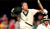 Australia's David Warner celebrates his 300. (Photo / AP)