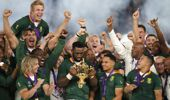 Springbok players celebrate after winning the cup. (Photo / AP)