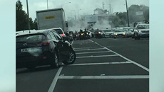 Black Power members captured doing burnouts outside West Auckland funeral home