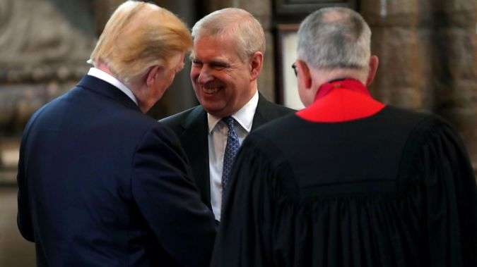 Prince Andrew shakes hands with  Donald Trump in June of this year. (Photo / Getty)