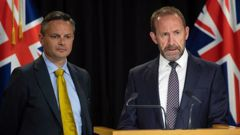 James Shaw and Andrew Little during a press conference after the release of the first round of public information on the 2020 cannabis referendum and the draft Bill. Photo / Mark Mitchell